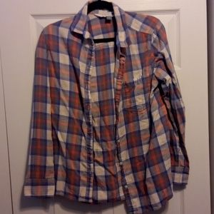 Plaid button-up t-shirt